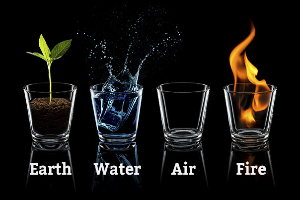 photo of four shot glasses representing earth with plant, water with ice cube dropping into water, air with empty glass, fire in shot glass