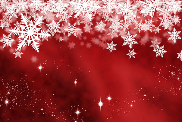image of white snowflakes on red background